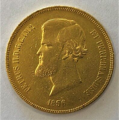 1856 Brazil 20,000 Reis Gold Coin (.5286 AGW) -- 1c Start NO RESERVE!!!