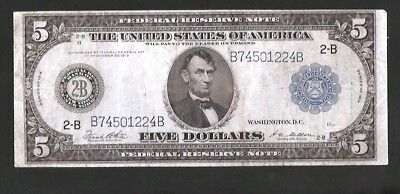 New York Type A 1914 $5 Federal Reserve Note No Reserve Auction