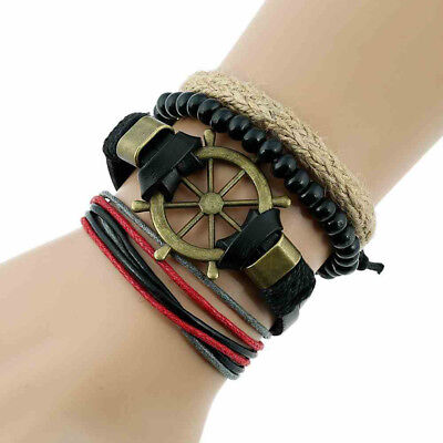 4Pcs PU Leather Handmade Multi-layer Rudder Beads Combination Bracelets Bangles