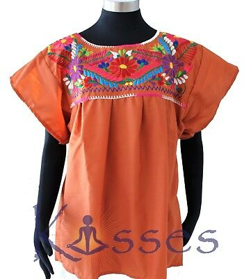 Mexican Peasant Blouse Hand Embroidered Top Colors Vintage Style Tunic Lt Brown