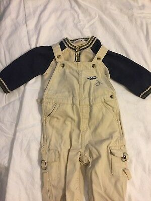Janie and Jack Baby Boys Size 3-6 Months Khaki Overalls and Sweater Set