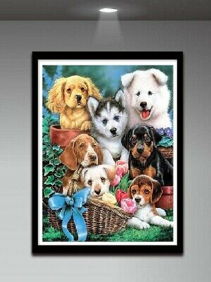 AU Dog Family Full Drill DIY 5D Diamond Painting Embroidery Cross Stitch Kit LE