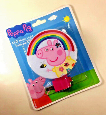 NEW Disney PEPPA PIG Bee Flowers Rainbow NIGHT LIGHT Pink Rotary Shade LED