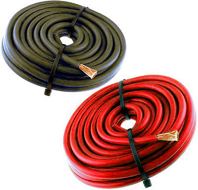 50/' Ft Super Flexible 4 Gauge Power Wire or Ground Cable 25 FT Red 25 FT Black