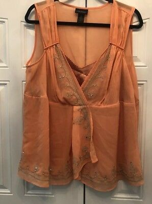 Lane Bryant Womens Plus Size 16 1X Orange Sheer Flowy Evening Career Top Blouse