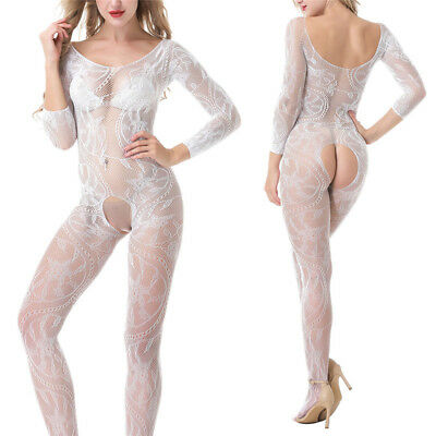 Women Lingerie Bodysuit Long Sleeve Hollow Out Crotchless Stretchy Bodystocking#
