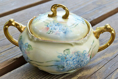 JPL Jean Pouyat LIMOGES Hand-painted Floral Porcelain China Sugar Bowl with Lid