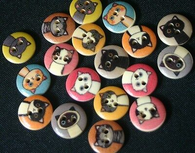 18 Cats Wooden Buttons - Sewing, Craft, Scrapbooking,Quilting