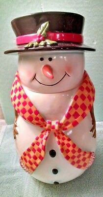 """Snowman(Lady) Cookie Jar With Black Top Hat & Yellow & Red Checkered Scarf 14"""""""
