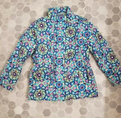 EUC Hanna Andersson Coat Ski Snow Winter Jacket Blue Floral Hood Flowers 120 6 7