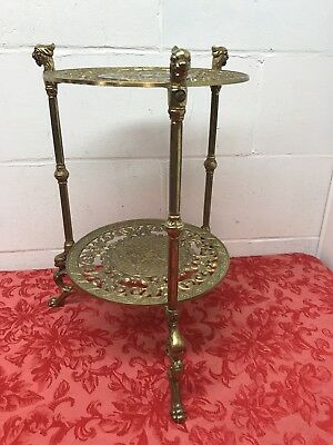 Antique BRASS 2 TIER PLANT STAND Hollywood Regency Vintage Cherub Griffin Table.