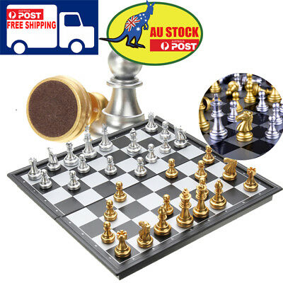 Chess Game Silver Gold Folding Magnetic Foldable Board Contemporary Xmas Game AU