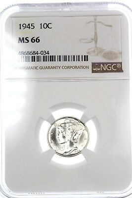 1945-P Mercury Dime 10C NGC MS66 Superb BU Silver Coin WHITE BLAST Beauty! #5442