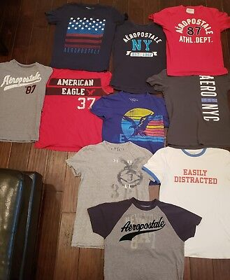 Huge Lot Of 10 Young Mens American Eagle/ Aeropostale T- Shirts Size Small