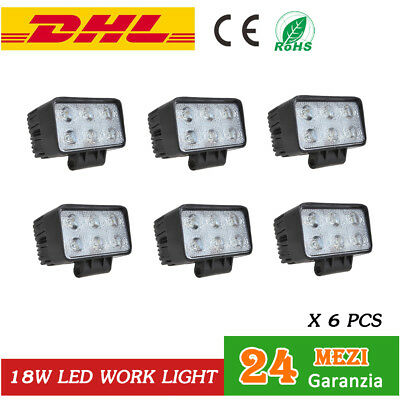 6x 18W LED LAMPADA DA LAVORO fari a led per trattori BARCA CAMION Flood Light