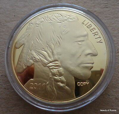 Indian head  24 kt gold plated   clad  copy    38 mm  coin