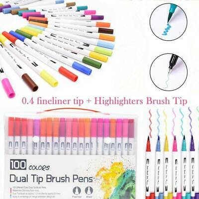 100 Colour Brush Pen Watercolor Art Drawing Painting Artist Sketch Manga Marker