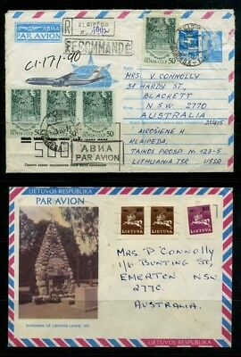 Lithuania Lietuva two airmail covers to Australia 1990 1991