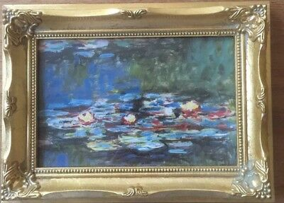 Small Gold Leaf Wooden Wood Art Noveau Frame Print Picture Monet Water Lilly