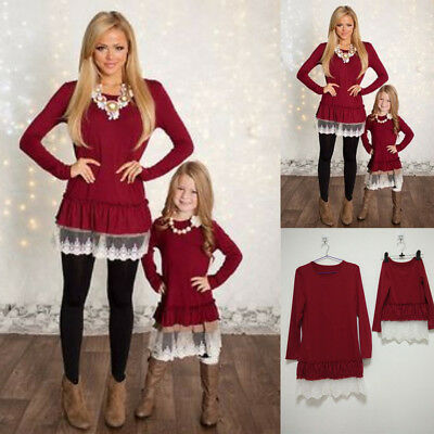 US Mother and Daughter Xmas Clothes Parent-child dress Family Matching Outfits