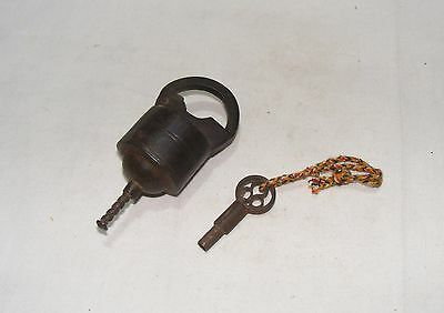 Old Vintage Handcrafted Unique Iron Tricky Pad Lock With Original Key 03