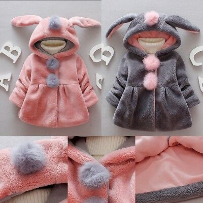 Baby Girls Clothes Winter Thicken Hooded Bunny Ears Soft Cotton Jacket Pink Gray