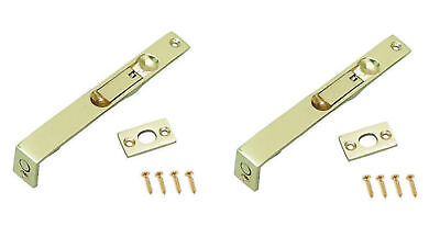 "Polished Brass Flush Bolts 6"" Pack of 2 (150mm long) Rebated French Doors lock"