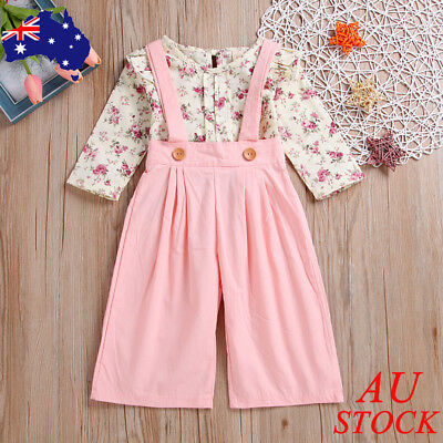 AU Baby Girls Flower Tops Jumpsuit Trousers Pants Kids Clothes Outfits 1-5 Years