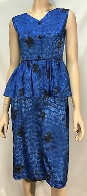 Vintage 1980s Blue Peplum Button Front Dress