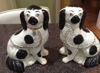 Staffordshire Black And White King Charles Spaniel Dogs Pair