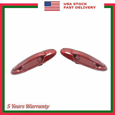 Rear Pair Outside Door Handle For Toyota Tundra Sequoia 3K4 Sunfire Red Pearl