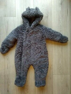 Mothercare All In One Winter Warm Teddy Soft Baby Suit Age 6/9 months