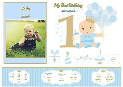Personalised Baby Picture First Birthday Gift PhotoA4 Girl Boy Art Print Name