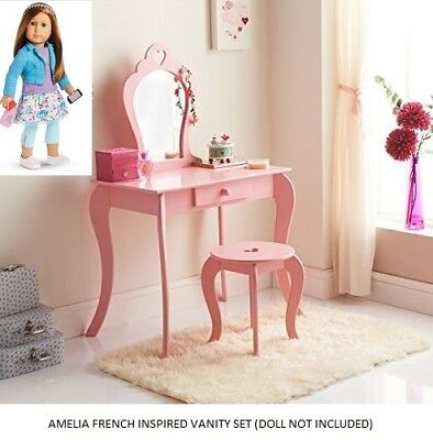 Children Wooden Pink Amelia Vanity Set/ Dressing Table With Mirror & Stool Xmas