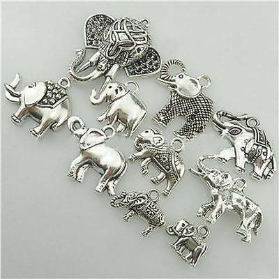 10pcs Mixed Elephant Antique Silver Pendants DIY Jewelry Findings Parts Charms