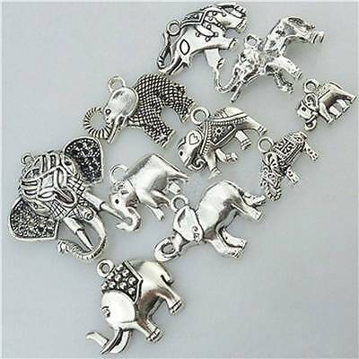 10pcs Mixed Elephant Antique Silver DIY Jewelry Findings Parts Charms Pendants