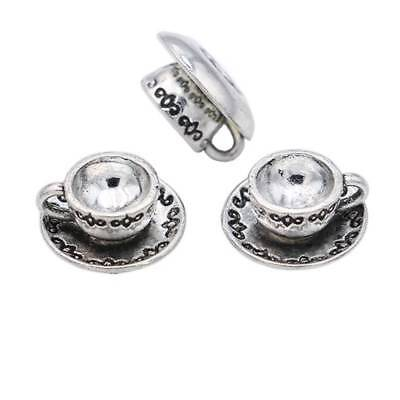 10pcs Antique Sliver 3D Coffee Cup Teacup Jewelry Findings Charms Pendants