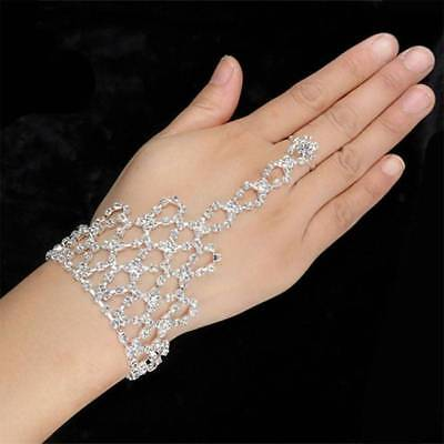 Fashion Rhinestone Bangle Chain Link Finger Ring Women Wedding Party Accessories
