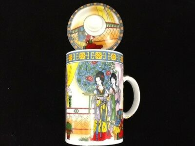Chinese Porcelain Tea Cup Handled Infuser Strainer with Lid 10 ozColorful Ladies