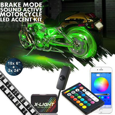 12x Motorcycle Led lights Wireless Remote 18 Color Accent Neon Glow Light Strips