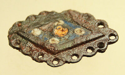 Ancient Roman Bronze Fibula & Brooch With Color Enamel  L=43x25mm Quality