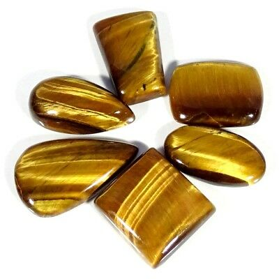 114.00Cts 100% Natural Golden Tiger Eye Mix Shape 6 Piece Lot Loose Gemstone