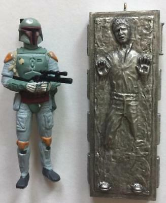 2010 Boba Fett and Han Solo Hallmark Miniature Ornament Star Wars Empire Strikes