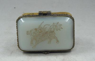Vintage Handmade Old chinese Bone white Jade Carving dragon Jewelry Box NR