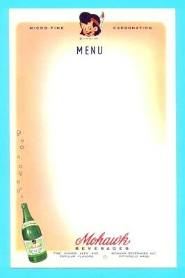 "Pittsfield, MA - Mohawk ""Little Indian Brave"" Soda Menu Sheet #2 - 1940s era NOS"