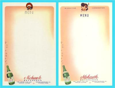 "Pittsfield MA - Mohawk ""Chief & Little Brave"" Soda Menu Sheets #3 -1940s era NOS"