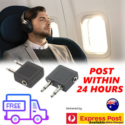 2X Airplane Airline Headphone Adapter For Audio Jack 2 Plug Air Plane Connector