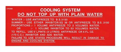 Rover P5 cooling system sticker