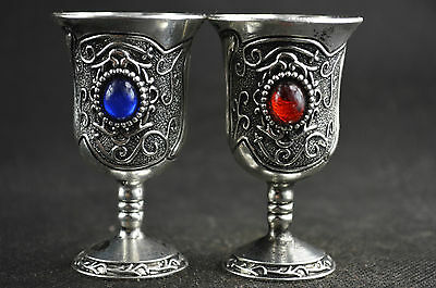 A Pair Old Decoration Handwork Tibet Silver Carved Flower Inlay Bead Goblet