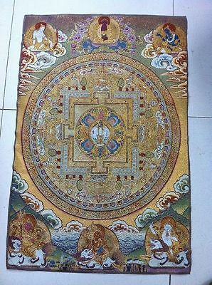Golden silk embroidery thangka exorcism wealth kf Buddha in Tibet and Nepa